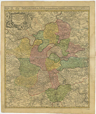 Antique Map-PARIS-FRANCE-AGRI PARISIENSIS-Homann Heirs-c. 1720