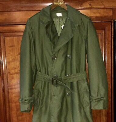 VINTAGE U.S. ARMY OD MILITARY Men Trenchcoat Overcoat Lined Belt Small Long 1964
