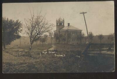 RP Postcard FRESNO Ohio/OH  Early 1900's Local High School Campus Building 1908