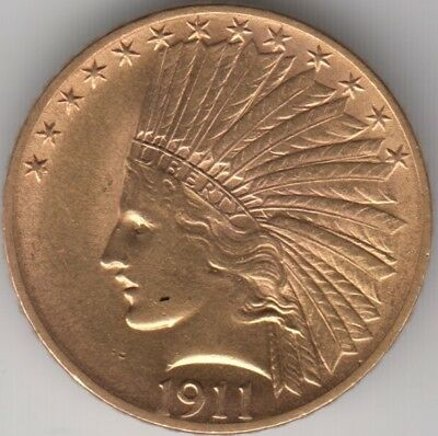 Coin 1911 USA Indian Head gold $10 dollar in uncirculated condition, lovely