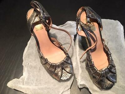 Vintage Biba Wedge Heels Shoes Size 39 Black, Gold And Siver