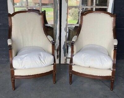 Pair Mahogany French Louis XVI Bergere Arm Chairs Upholstered C1890