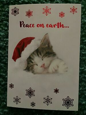 ID#361 Leanin/' Tree Christmas Card Dog Holding Cat In Stocking Theme