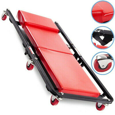 Portable Folding Mechanics Padded Creeper Trolley Seat Car Van Garage Tool 36inc