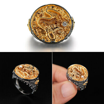 Chinese Dragon Carved Men's 18K Black Gold Plated Ring Party Jewelry Size 7-13