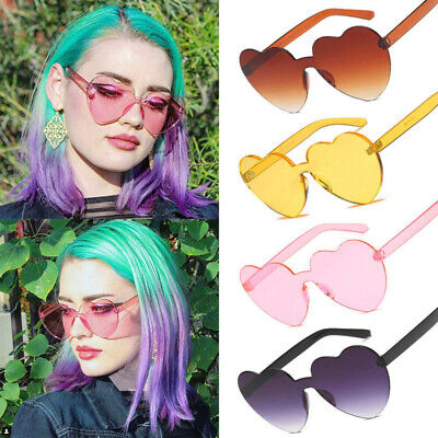 Women's Love Sunglasses Heart Shape Frame Trendy Candy Colors Girl Eye Glasses