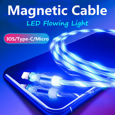 LED Flowing Light Magnetic Type-C Micro USB Charging Charger Cable For Samsung