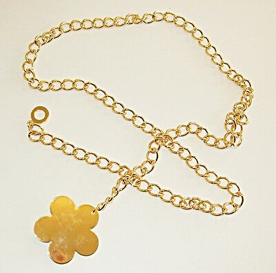 Vintage Style 60S Gogo Disco Flower Power Gold Colour Metal Chain Belt Groovy