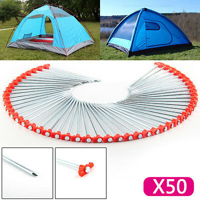 50 X Metal Tent Pegs Hard Ground Standing Camping Awning Pegs Heavy Duty New