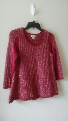 Lucky Brand Live In Love Red/Gold Metallic  Knit Sweater(S) Good Condition