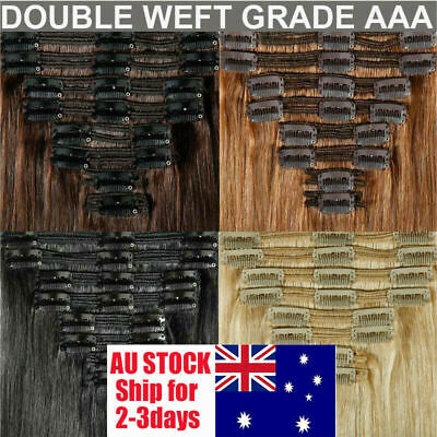 Extra THICK Clip In Remy Real Human Hair Extensions Full Head Double Wefted AU W