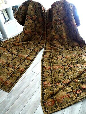 2 French antique hanging curtains  tapestry 19th-century floral decor