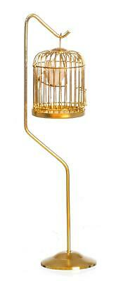 Dolls House Miniature 1:12 Scale Victorian Accessory Bird in Brass Cage on Stand