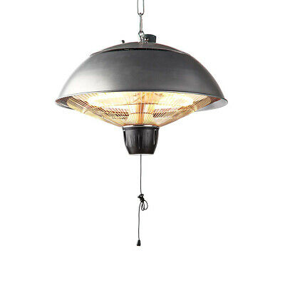 Nedis Ceiling Mounted Electric Hanging Patio Heater Halogen Garden Light 2kW