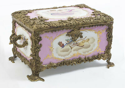Superb Hand Painted Sevres Style Rose Pink Porcelain Casket
