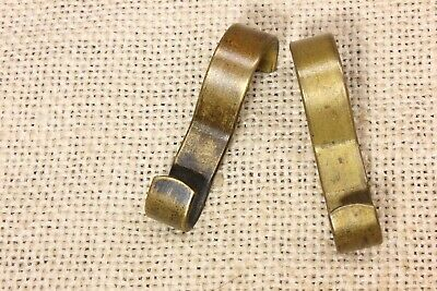 2 Picture molding rail hooks painting hangers old vintage heavy thick brass