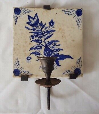 Delft Tile Candle Holder, Probably Late 19Th Century Hand Painted 6 Inch Tile