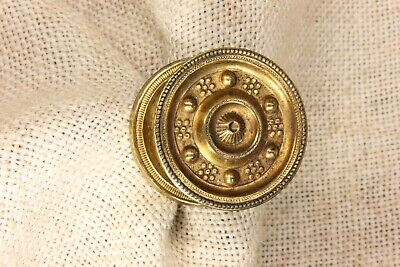 "1 1/2"" Drawer pull knob interior shutter furniture old brass beaded vintage 1880"