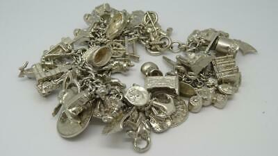 Vintage English Sterling Silver Charm Bracelet & 46 Charms-102.5 grams