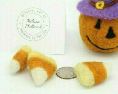 3 MINI Needle Felted Candy Corn Bowl Fillers Prim, Folk Artist Melissa Philbrook