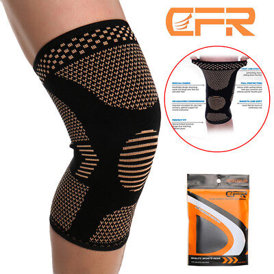Compression Knee Sleeve Copper Support Brace Sports Joint Pain Injury Arthritis