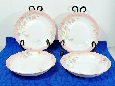 """LOT / 4 Arcopal Luminarc ELISE 7 1/4"""" Cereal Bowls Tempered Glass Made in France"""
