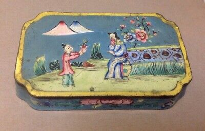 Vintage Asian Chinese Hand Painted Enamel Cloisonne Dish Or Lid