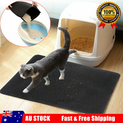 Cat Litter Trapping Mat Double Layer Honeycomb Design Foldable Tray Trap Pad