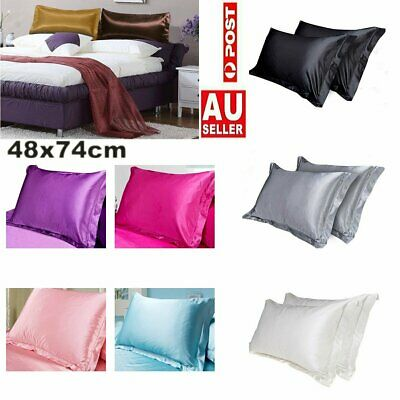 2Pcs Solid Silk Smooth Satin Pillow Case Cover Standard Bedding Soft Pillow Case