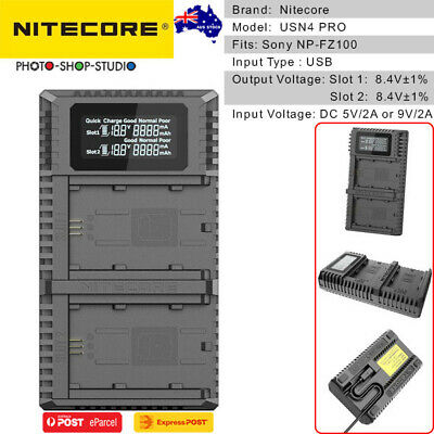 AU STOCK* Nitecore USN4 PRO USB Dual-slot Battery Charger for Sony NP-FZ100