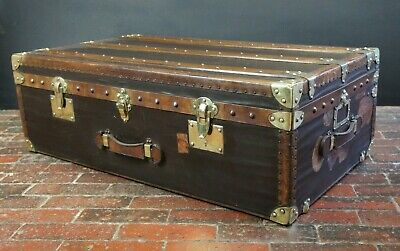Antique Brass Cabin Chest Trunk Antique Luggage