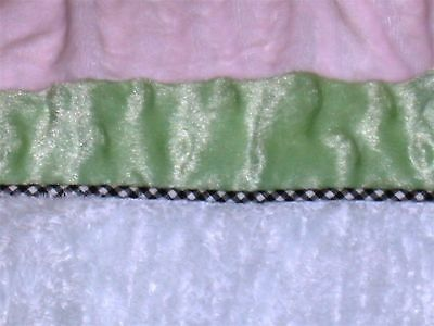 "Kids Line Velour & Chenille Crib Skirt ~ Drop 14"" ~ Pink White Green"