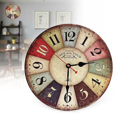 Large Vintage Wooden Round Wall Clock Antique Shabby Chic Home Office Art Decor