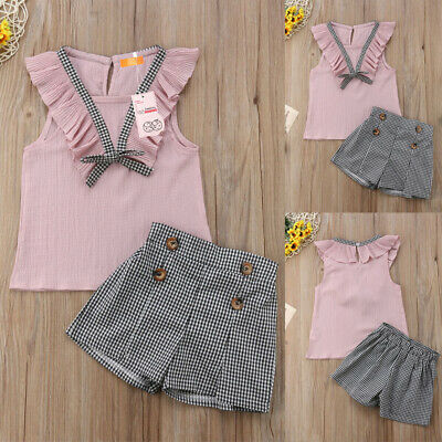 UK Summer Toddler Baby Girl Clothes Ruffle Tops Pants Leggings 2PCS Outfits Set