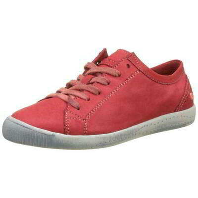 Softinos by Fly London Isla Womens Ladies Soft Red Leather Trainers Shoes Size 9
