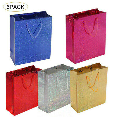 Shiny Paper Party Bags - Gift Bag With Handles - Recyclable Birthday Loot Bag UK