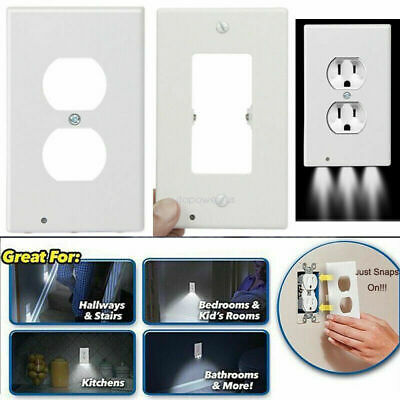 Night Plate Plug Cover With LED Lights Angel Wall Outlet Cover Hallway Bathroom