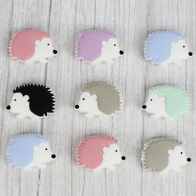 5PCs Hedgehog Silicone Teething Beads for Baby Teether Necklace Pacifier Chain