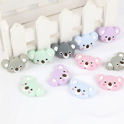 5PCs Koala Food Grade Silicone Teething Beads for Baby Pacifier Chain Necklace