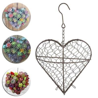 Metal Hanging Planter Plant Pot Heart Shaped Flower Basket Indoor Outdoor Décor