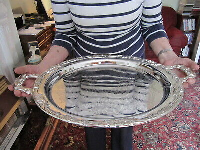 Superb Large Old Sheffield Style Circular Chased Tray with Carrying Handles