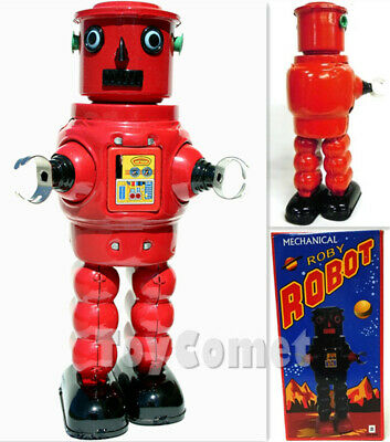 MS640 Red Mechanical Walking Roby Robot Retro Clockwork Wind Up Tin Toy w/Box