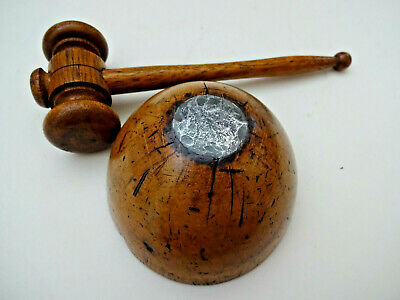 ANTIQUE TREEN AUCTIONEERS GAVEL & LEAD WEIGHTED DOME BLOCK. c 1900.
