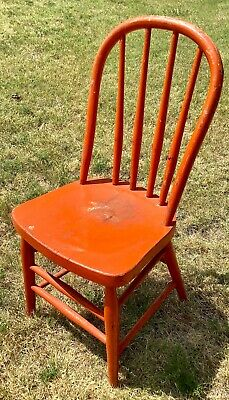 Antique Vintage Old Wooden Child's Bentwood Chair Primitive Country Bow Back