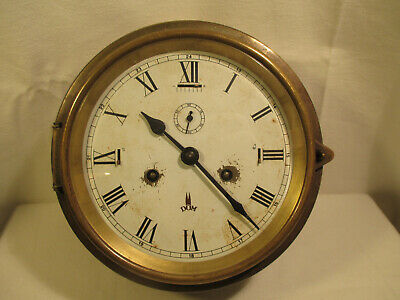 Antique Bell Clock from Cathedral Germany/Ship's Clock with Manual Winding