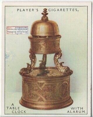 1590 German Table Clock With Dolphin Feet Alarm 1920s Ad Trade Card
