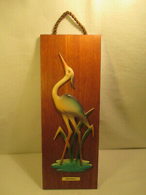 Vintage 60er Years Memory Crane Wall Picture/Teak : Norderney