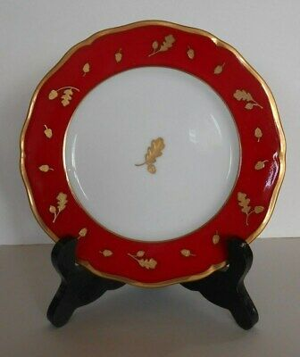 Lynn Chase Designs Winter Game Birds Bread Plate Red Band Gold Trim 6 1/2""