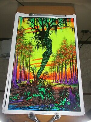 Vtg 1970's Velvet Flocked Black Light Poster Swamp Mirage 984 Goddess Funky (c)