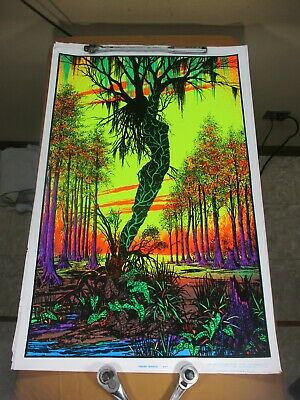 Vtg 1970's Velvet Flocked Black Light Poster Swamp Mirage 984 Goddess Funky (d)
